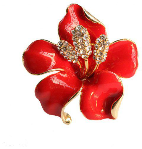 PULATU Enamel Diamond Red Flower Brooch XZ-B1L6-9 - LOVE RED