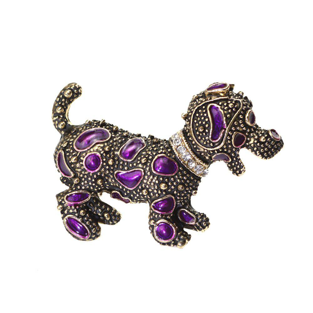 PULATU Diamond Purple Porcelain Glaze Puppy Brooch XZ-B1L6-10 - INDIGO