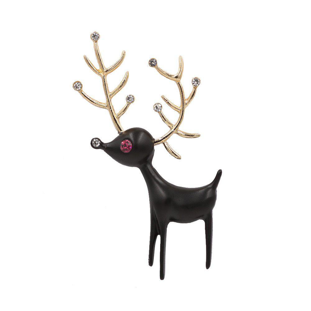 PULATU Diamond Black Deer Brooch XZ-B1L6-11 - BLACK