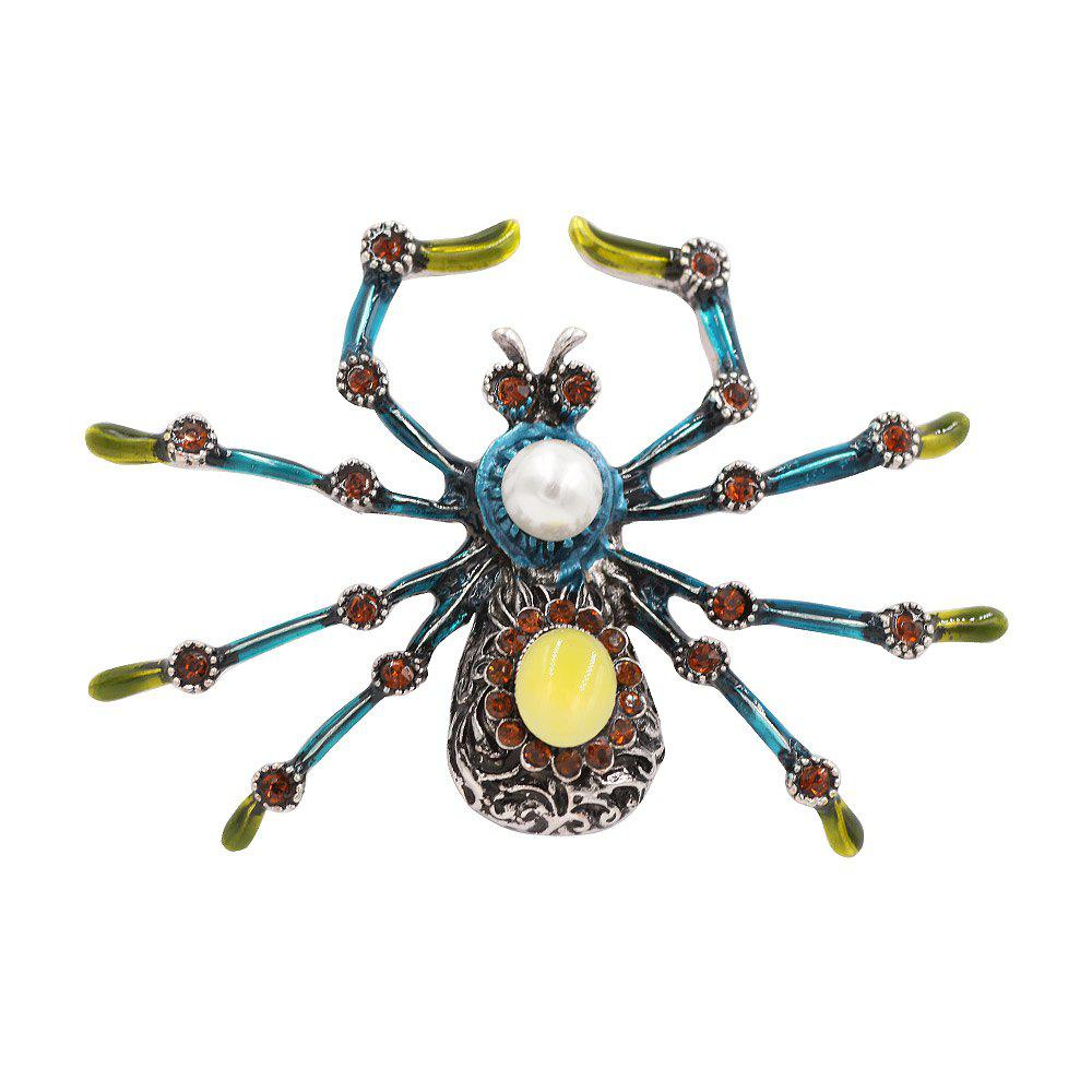PULATU Simulate-Pearl Diamond Colorful Spider Brooch XZ-C1L3-11 - multicolor