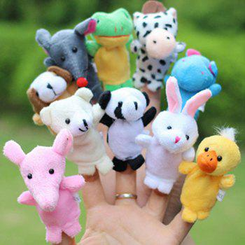 Plush Toys Happy Family Fun Cartoon Animal Finger Puppet - multicolor