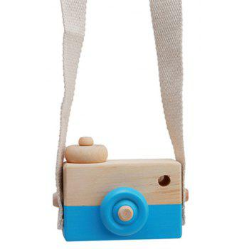 Cute Wooden Toy Camera Baby Kids Hanging Camera Photography - CRYSTAL BLUE