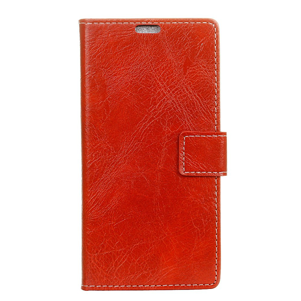 Cover Case For Xiaomi Mi Mix 2 Genuine Quality Retro Style Crazy Horse Pattern Flip PU Leather Wallet Case - RED WINE