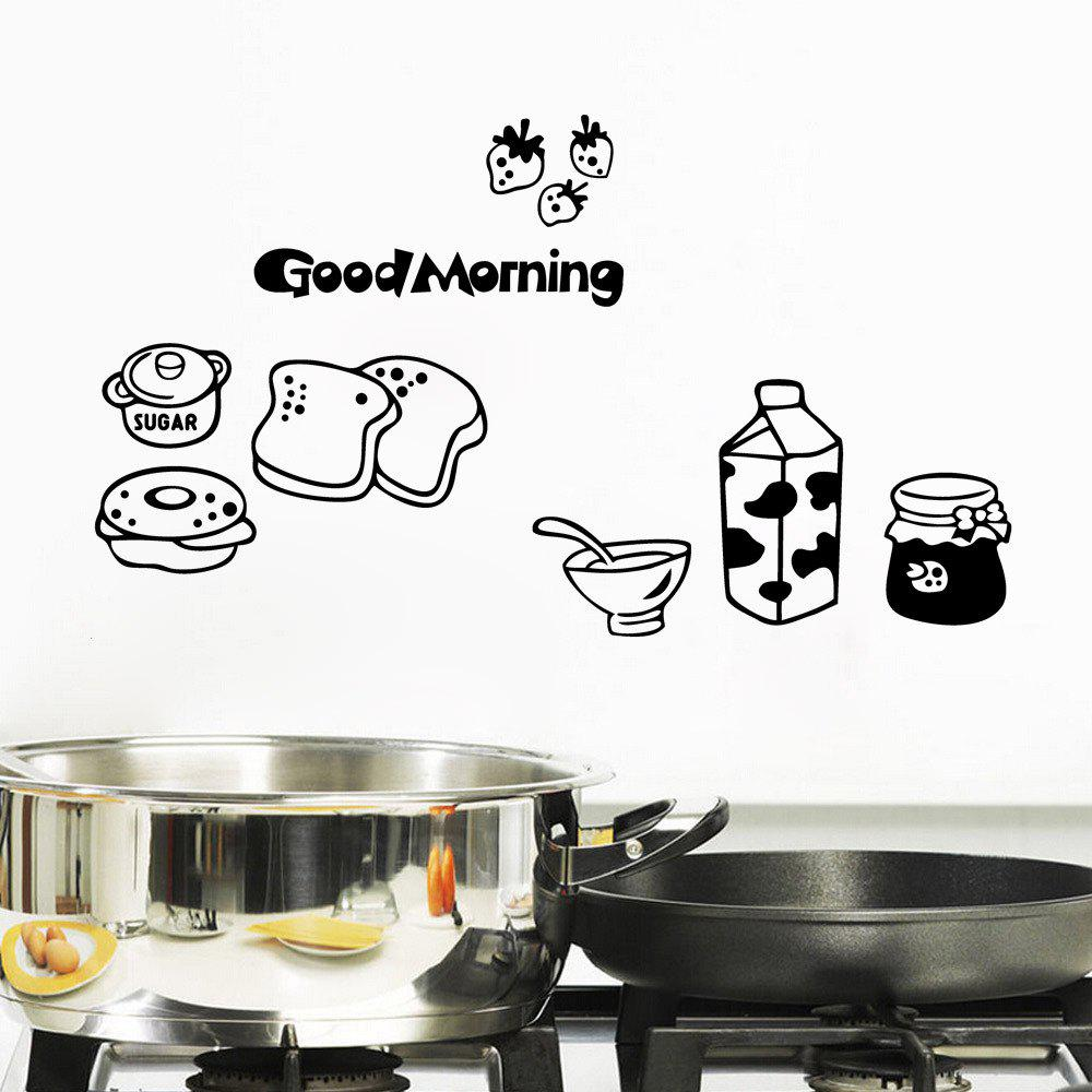 Good Morning Breakfast Vinyl Decal Combination Wall Sticker Kitchen Fridge Decor wall stickers removable art vinyl quote diy kid height wall sticker decal mural home room decor 350039