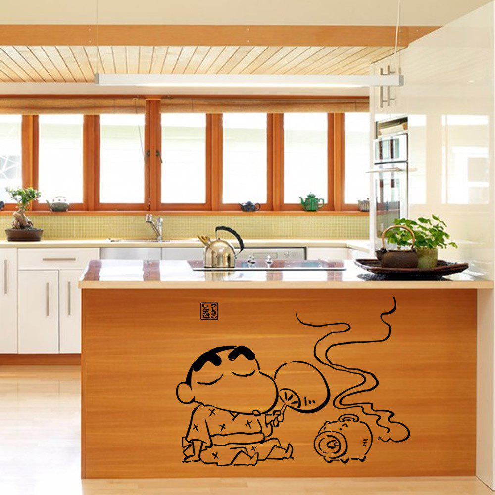 Cute Home DIY Cartoon Kitchen Wall Sticker Crayon Shin-Chan Decor Mural Home 3d bue silver strip metal mosaic tiles kitchen backsplash wallpaper border line diy sticker aluminum home decor material lsala09