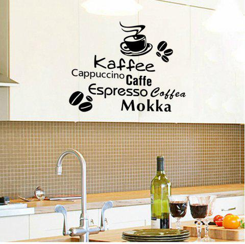 Delicious Coffee Vinyl Quote Removable Kitchen Wall Sticker DIY Home Decor - BLACK 56X30CM