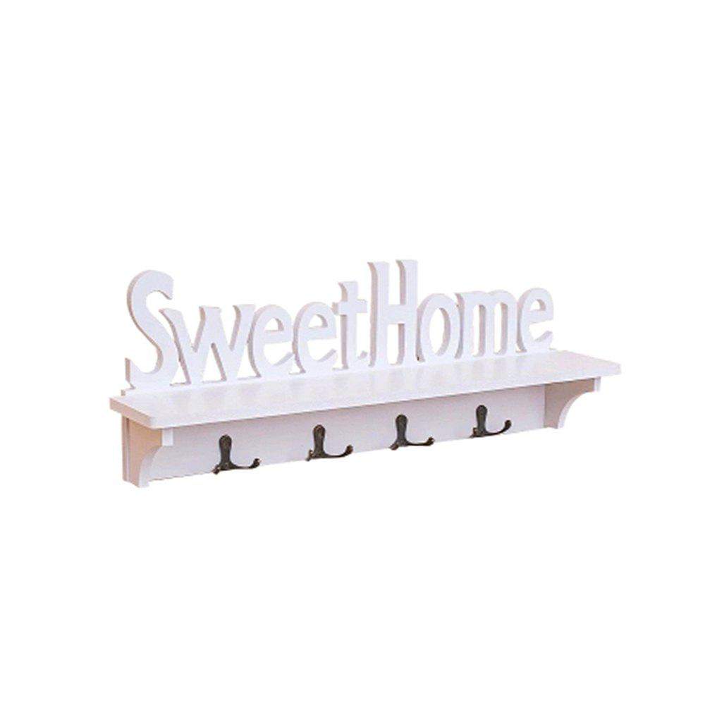 WX-0329-327 Sweet Home White Hollow Wooden Partition Four Hook Wall Hanging four hooks multipurpose wall hanging hook clothes hook hatstand hat rack coatrack