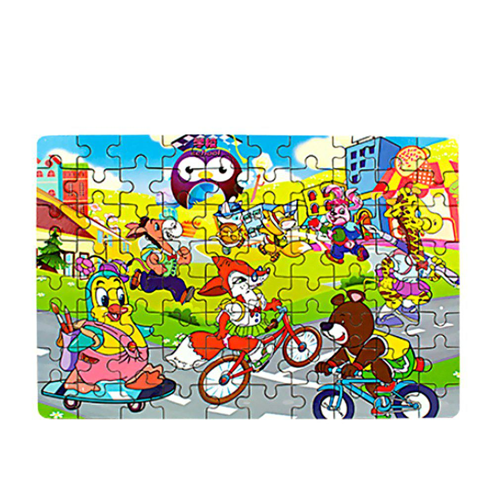 Children Educational Cartoon 80 Pieces Wooden Jigsaw baby diy learning colors geometric assembling blocks durable wooden jigsaw kids children educational toys set zs064