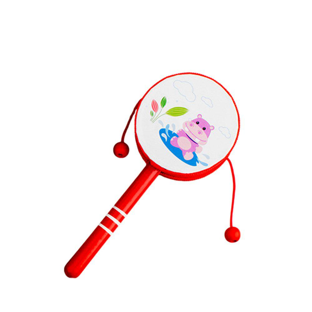 Early Childhood Toddler Wooden Cartoon Rattle - RED