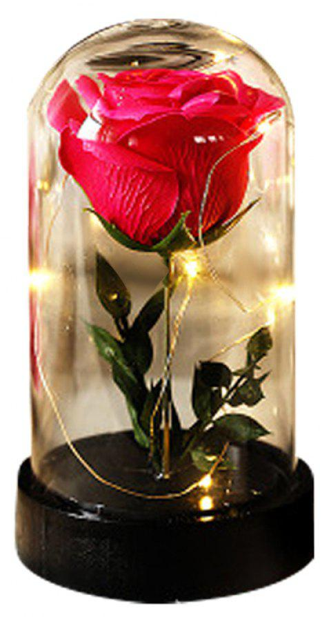 Transparent Glass Luminous Ornaments Creative Rose Soap Star Light - RED