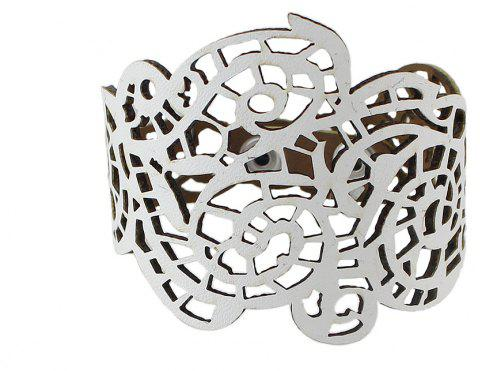 PU Leather Hollow out Flower Wrap Bracelet - WHITE