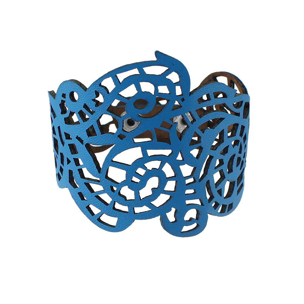 PU Leather Hollow out Flower Wrap Bracelet - BLUE IVY
