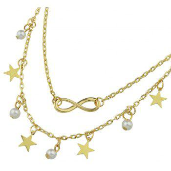 Simulated-pearl Star Charm Anklets Barefoot Sandals - GOLD