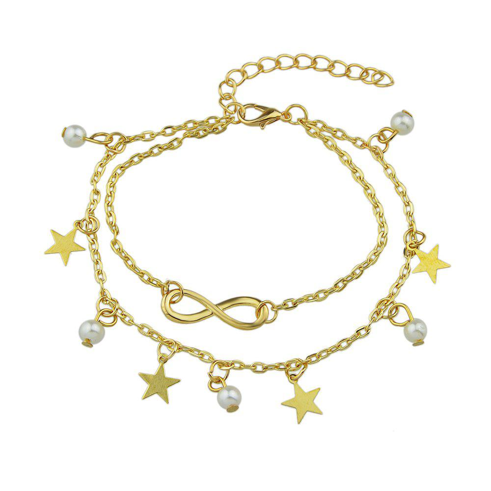 Simulated-pearl Star Charm Anklets Barefoot Sandals faux pearl starfish star charm beach anklets