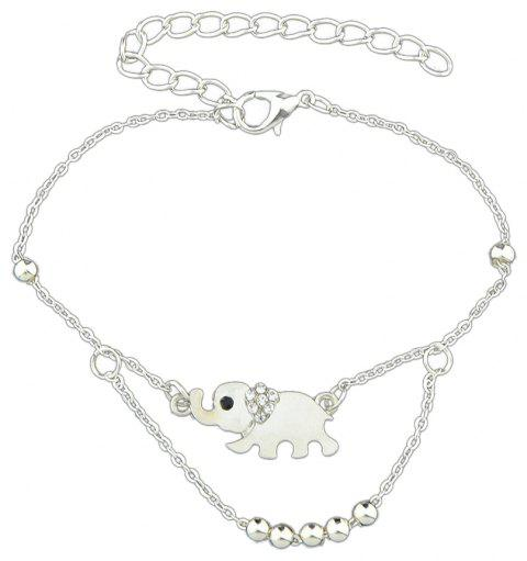 Rhinestone Elephant Charm Anklets Barefoot Sandals - SILVER