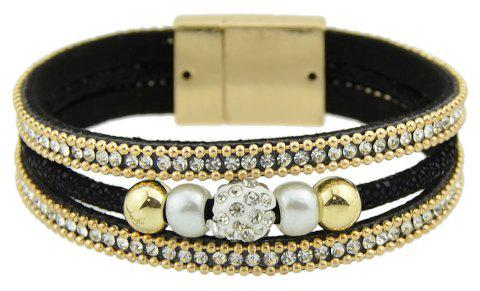 Pu Leather Rope Chain Gold-Color Wrap Bracelet - BLACK