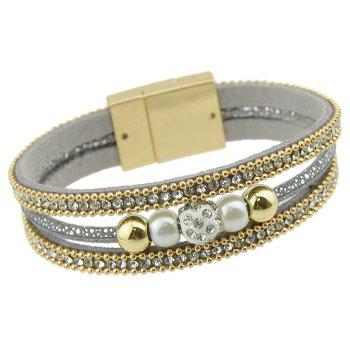 Pu Leather Rope Chain Gold-Color Wrap Bracelet - BATTLESHIP GRAY