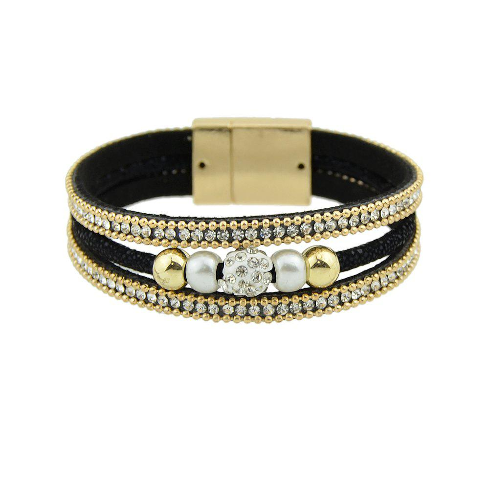 Pu Leather Rope Chain Gold-Color Wrap Bracelet