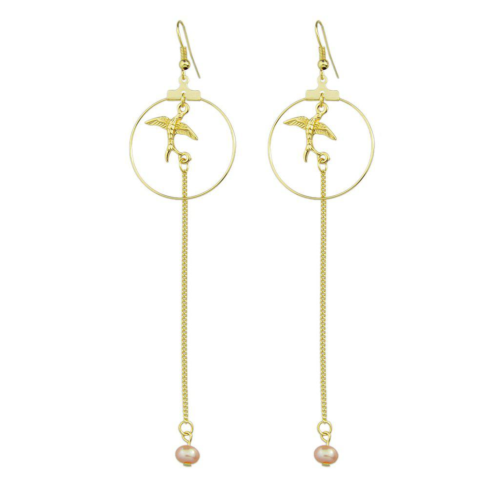 Simple Gold Geometric Long Earrings faux opal geometric earrings