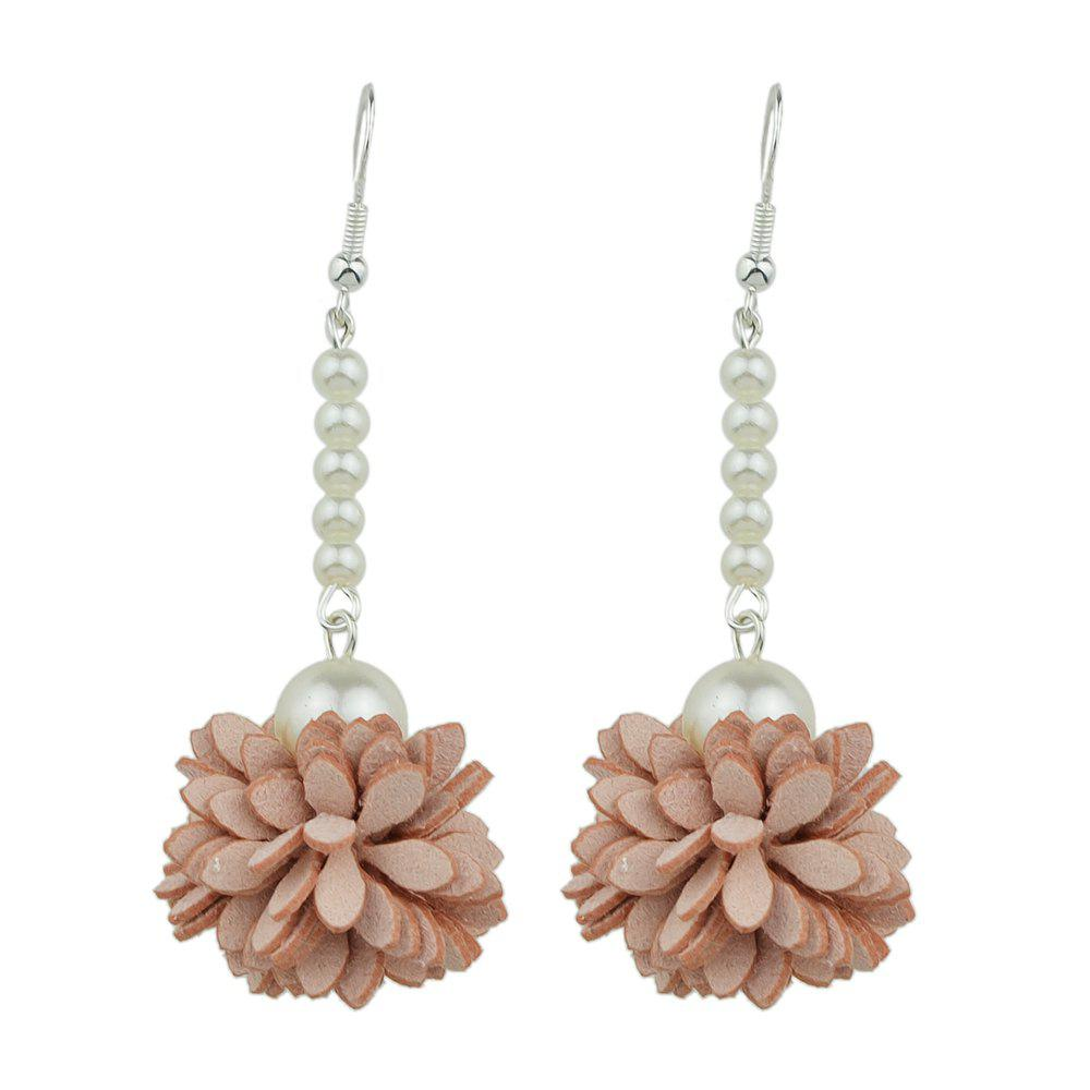 Geometric Simulated-pearl Flower Shape Big Drop Earrings faux opal geometric earrings