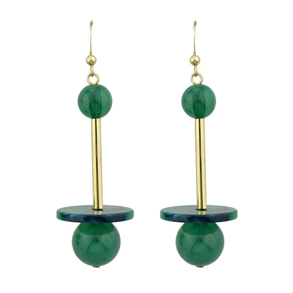 Gold-color with Colorful Beads Dangle Earrings