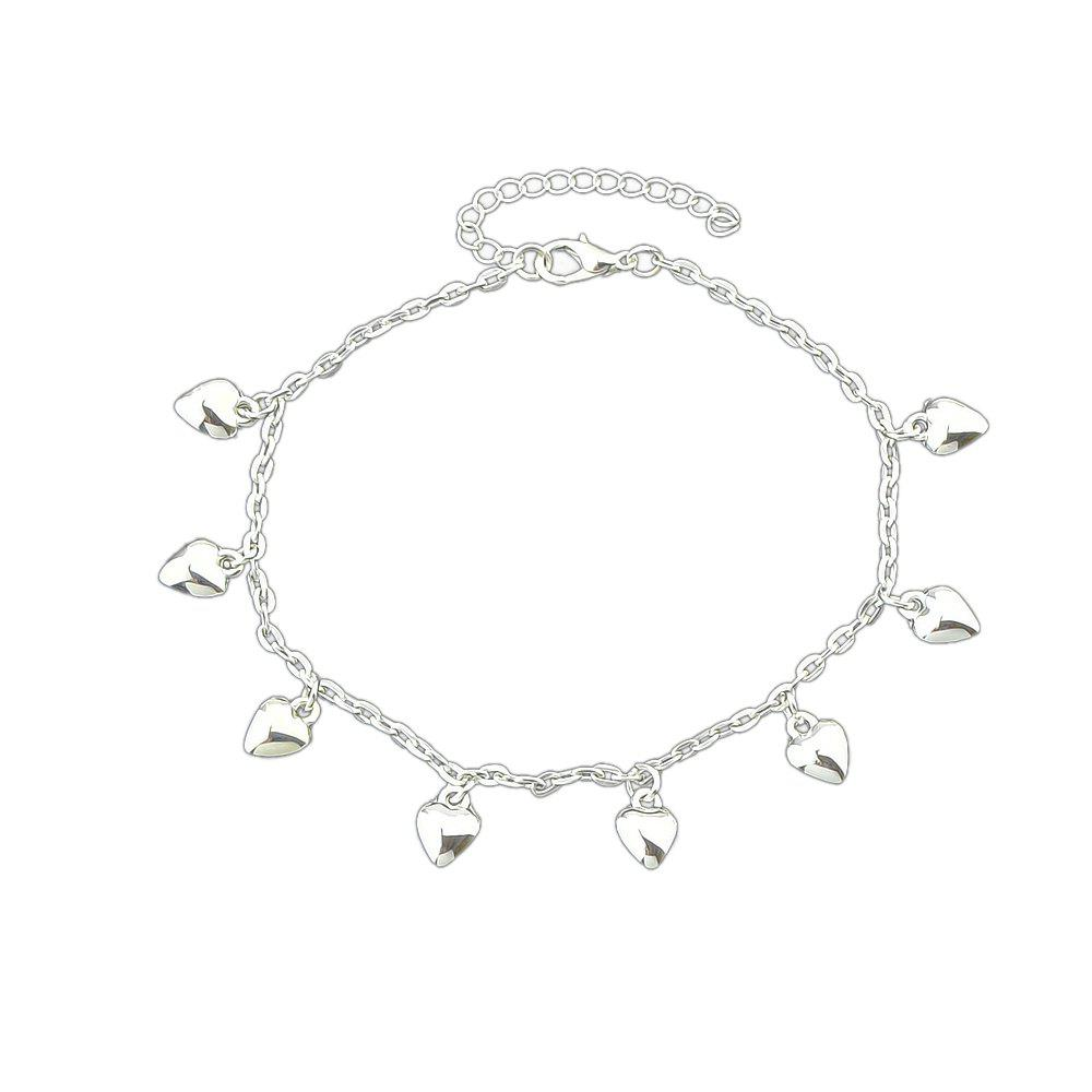 Silver Color Chain Heart Pattern Anklets - SILVER