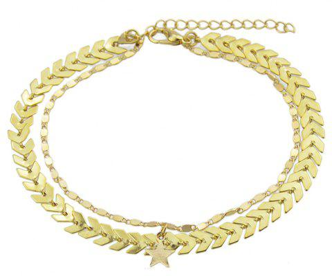 Gold Silver Color Chain Star Charm Anklets - GOLD