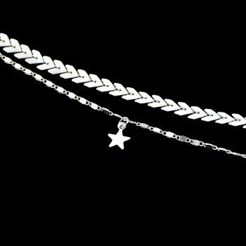 Gold Silver Color Chain Star Charm Anklets - SILVER