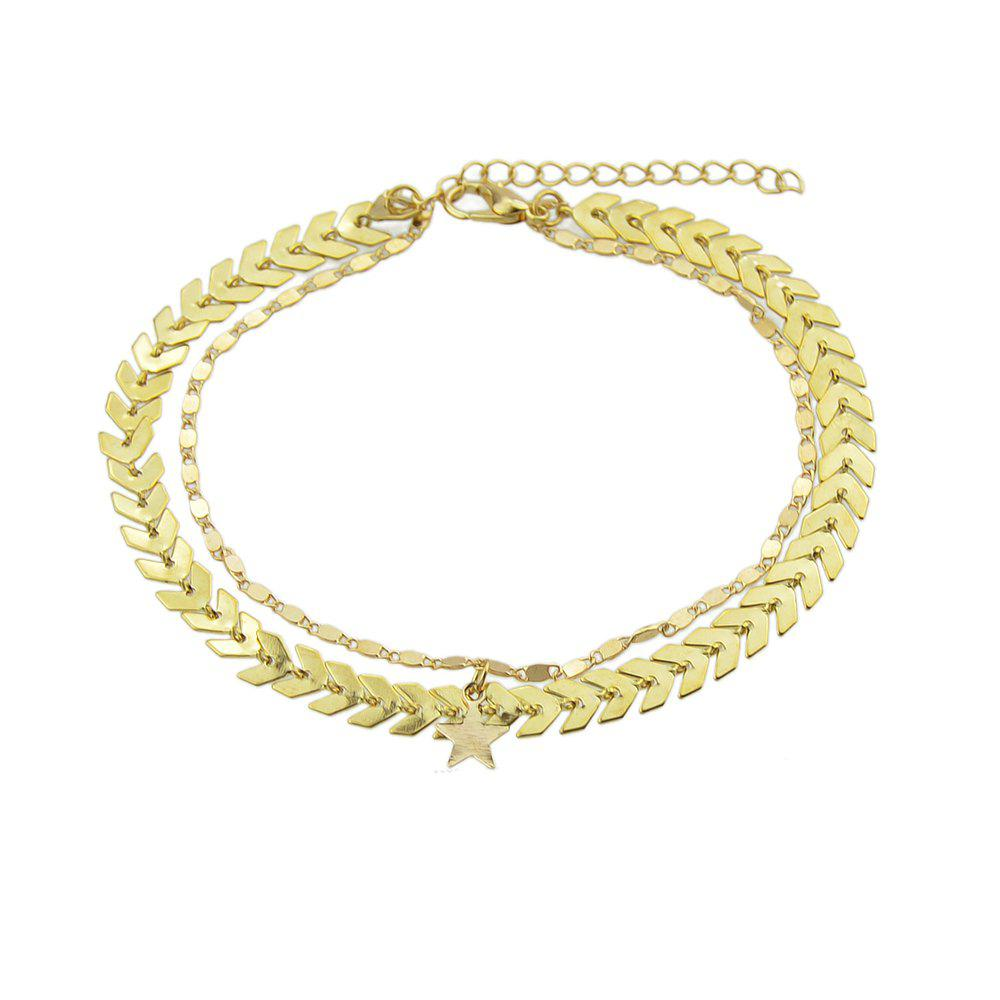 Gold Silver Color Chain Star Charm Anklets faux pearl starfish star charm beach anklets