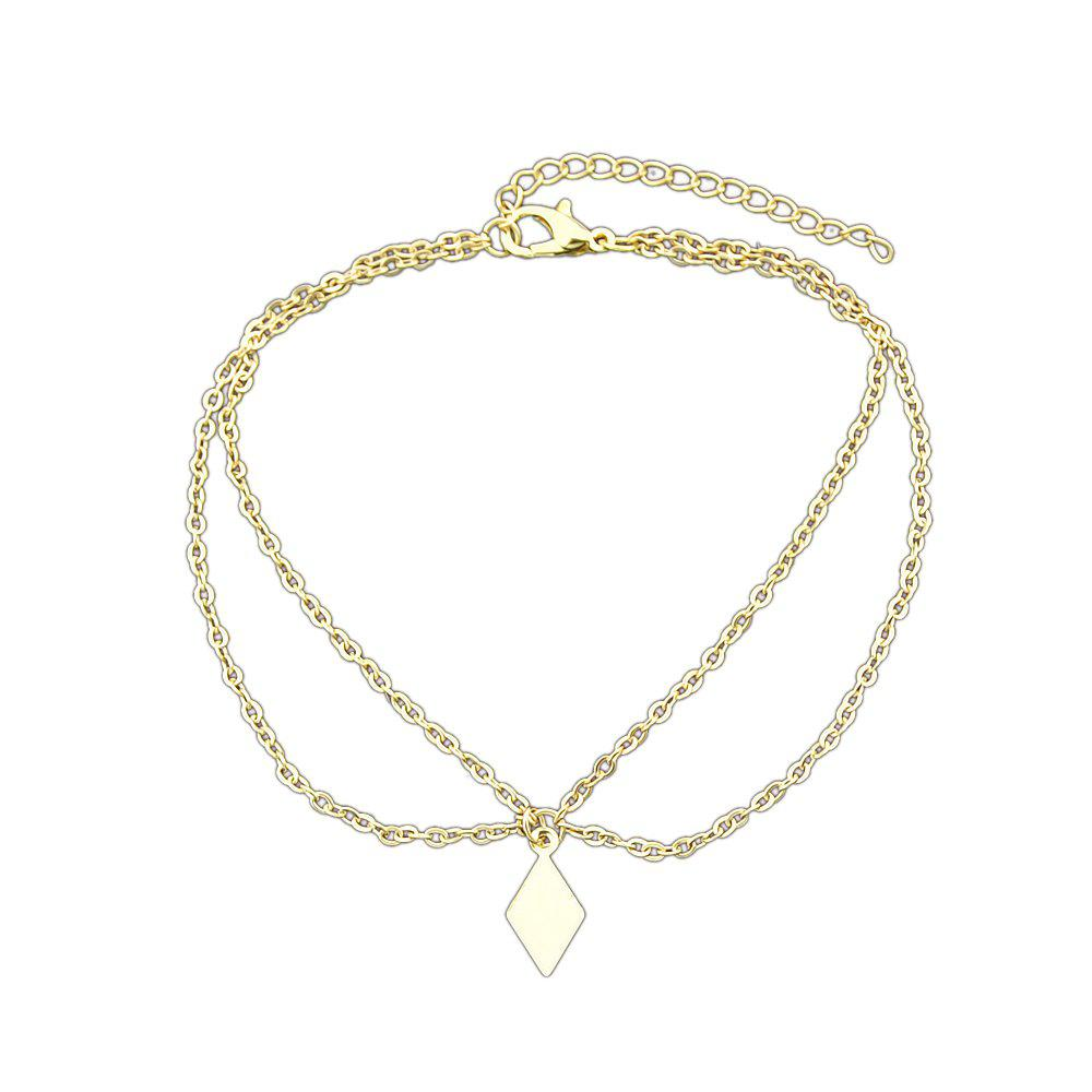 Gold Silver Color Multi Layer Chain Rhombus Anklets - GOLD