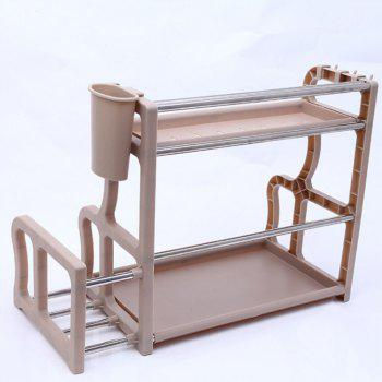 Kitchen Plastic Two Layer Seasoning Collector Storage Rack - APRICOT