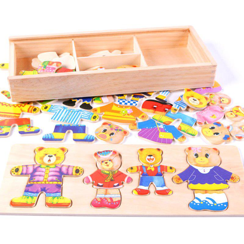 Wooden Baby Bear Children Change the Clothes Puzzle Building Block world war ii german assembled building blocks dolls military weapons city bricks building block original toys for children