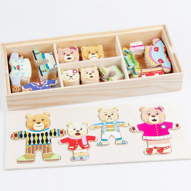 Wooden Bear Children Change The Clothes Puzzle Building Block world war ii german assembled building blocks dolls military weapons city bricks building block original toys for children