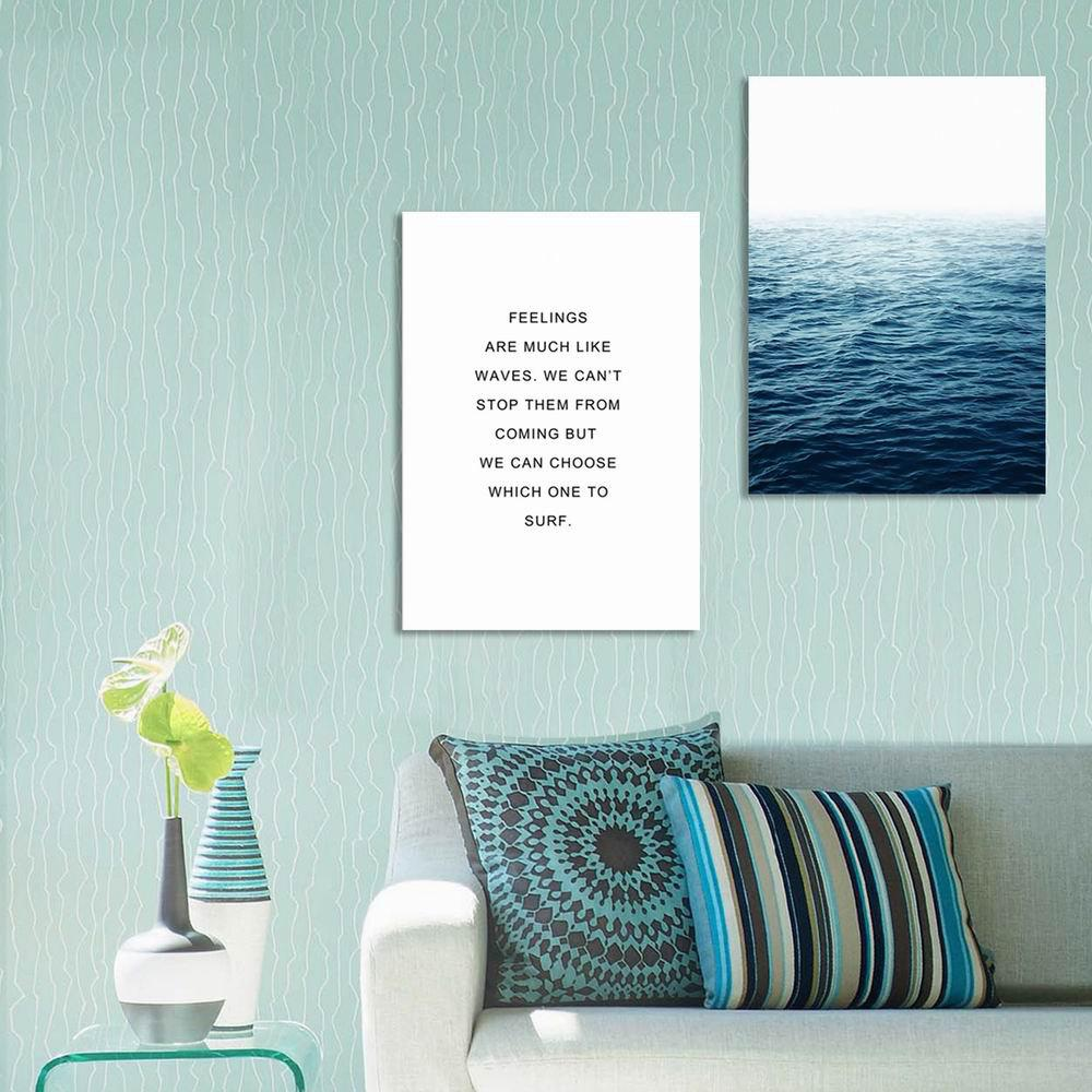 W243 Letters and Sea Unframed Wall Canvas Prints for Home Decoration 2PCS - multicolor A 50CM X 70CM X 2PCS
