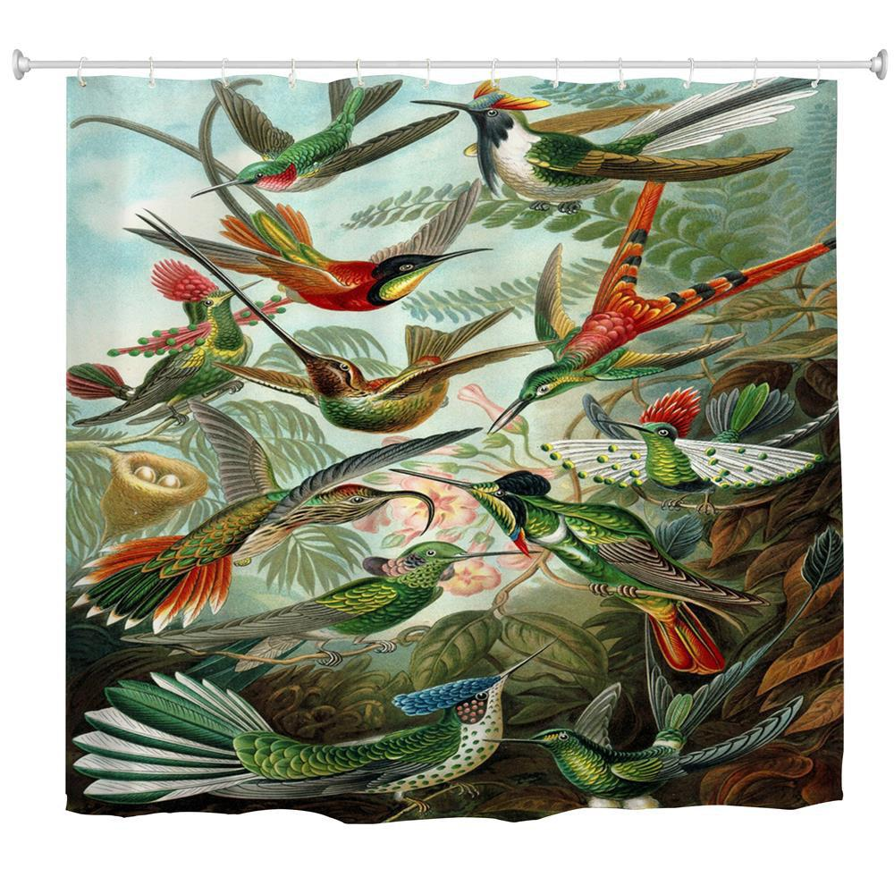 Hummingbird Group Water-Proof Polyester 3D Printing Bathroom Shower Curtain - multicolor A W71 INCH * L79 INCH