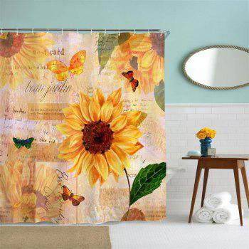Butterfly Sunflower Water-Proof Polyester 3D Printing Bathroom Shower Curtain - multicolor A W71 INCH * L71 INCH