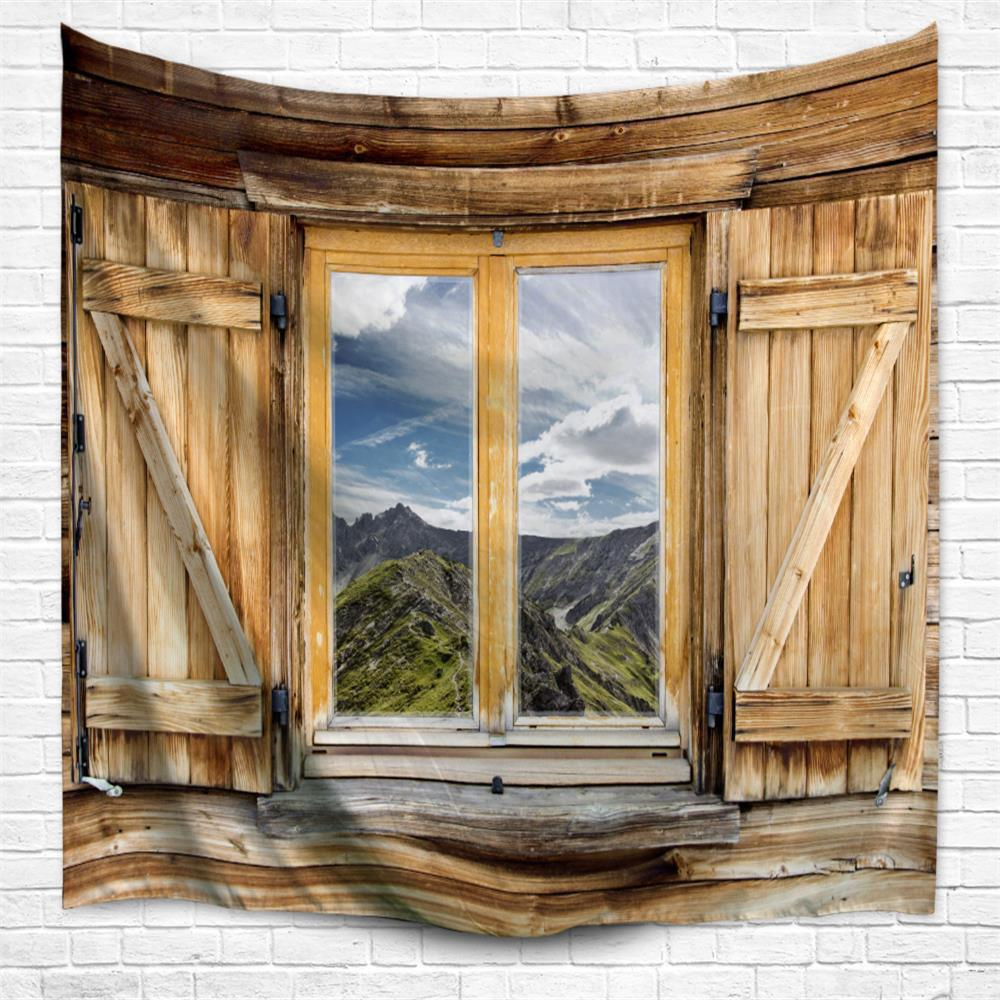 Mountain View Window 3D Printing Home Wall Hanging Tapestry for Decoration - multicolor A W153CMXL130CM
