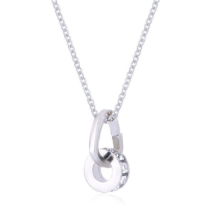 Double Ring Heart-shaped Artificial Diamond Necklace - WHITE