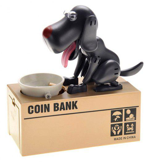 Dog Piggy Bank Cute Robotic Coin Munching Money Box - BLACK