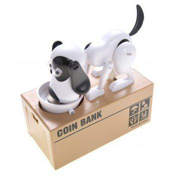 Dog Piggy Bank Cute Robotic Coin Munching Money Box - WHITE