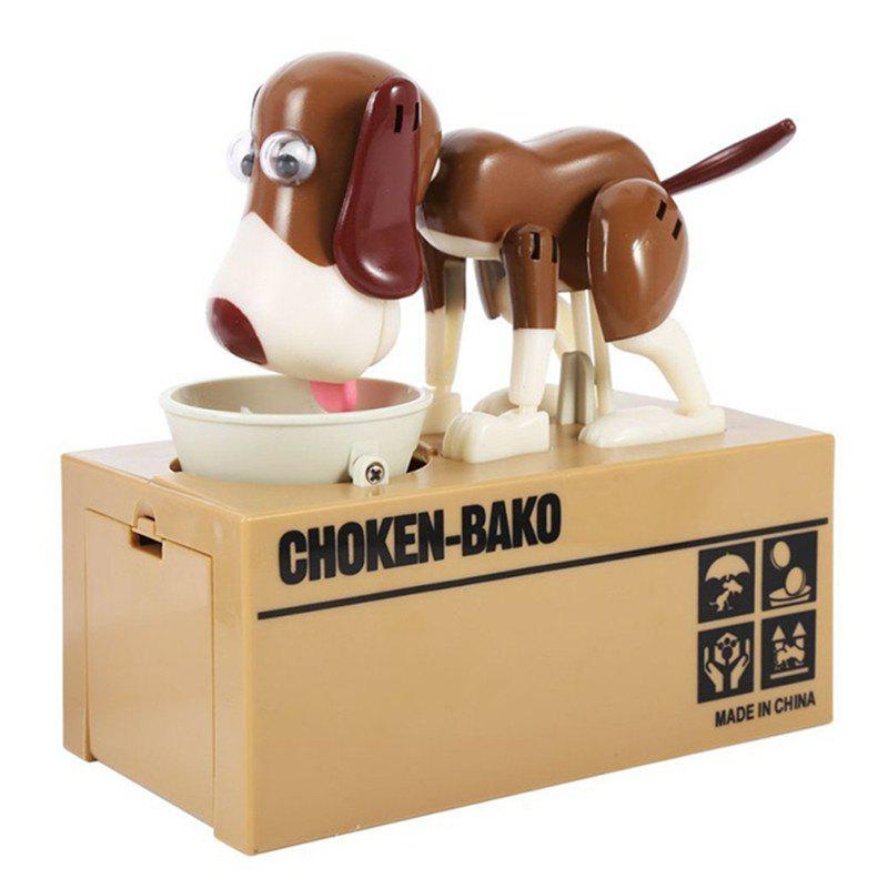 Dog Piggy Bank Cute Robotic Coin Munching Money Box - BROWN