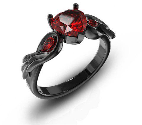 Fashion Creative Wings Heart Shaped Ruby Ring - RED US SIZE 9