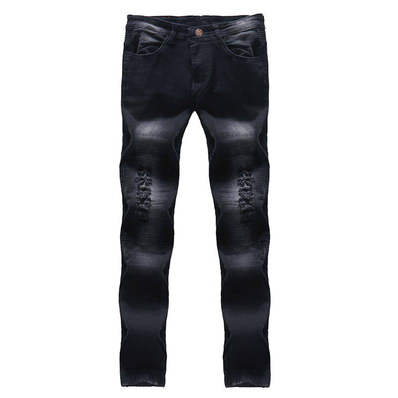 2018 New Men's Fashion Solid Wash Pleated Slim Slim Fit Jeans - BLACK 32