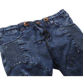 2018 New Men's Fashion Pleated Washable Elastic Tether Casual Jeans - BLUE 32