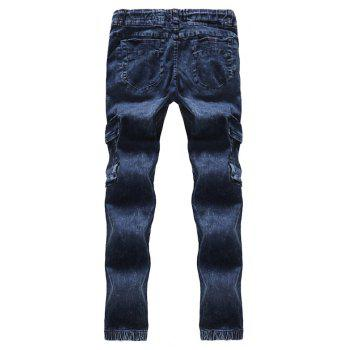 2018 New Men's Fashion Pleated Washable Elastic Tether Casual Jeans - BLUE 30