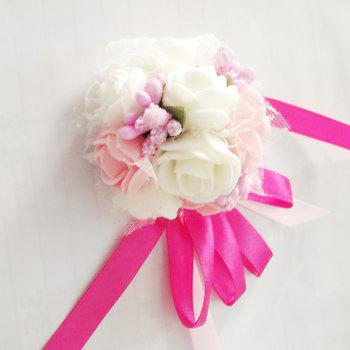 Emulational Wrist Flower Decoration  Wedding Special Occasion Use - PINK