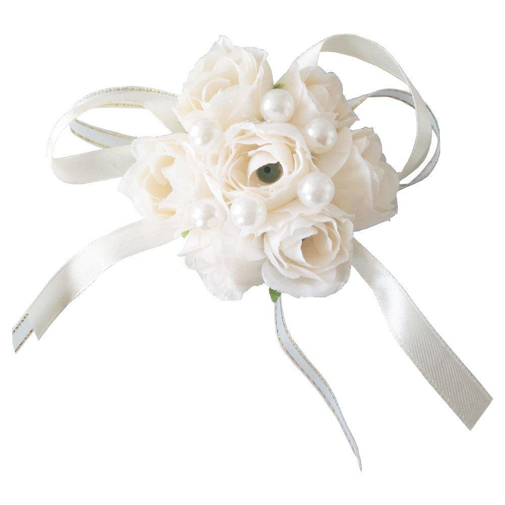 New Rose Emulational Pearl Wrist Flower Decoration Wedding Special Occasion Use - CORNSILK