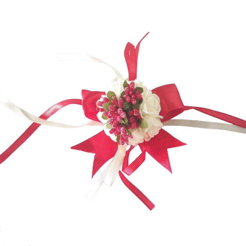 New Rose Babysbreath Emulational Wrist Flower Decoration - RED