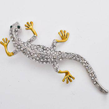 Fashion Gecko Brooch for Man Rhinestone Brooches Pins Animal Jewelry Gift - GOLD