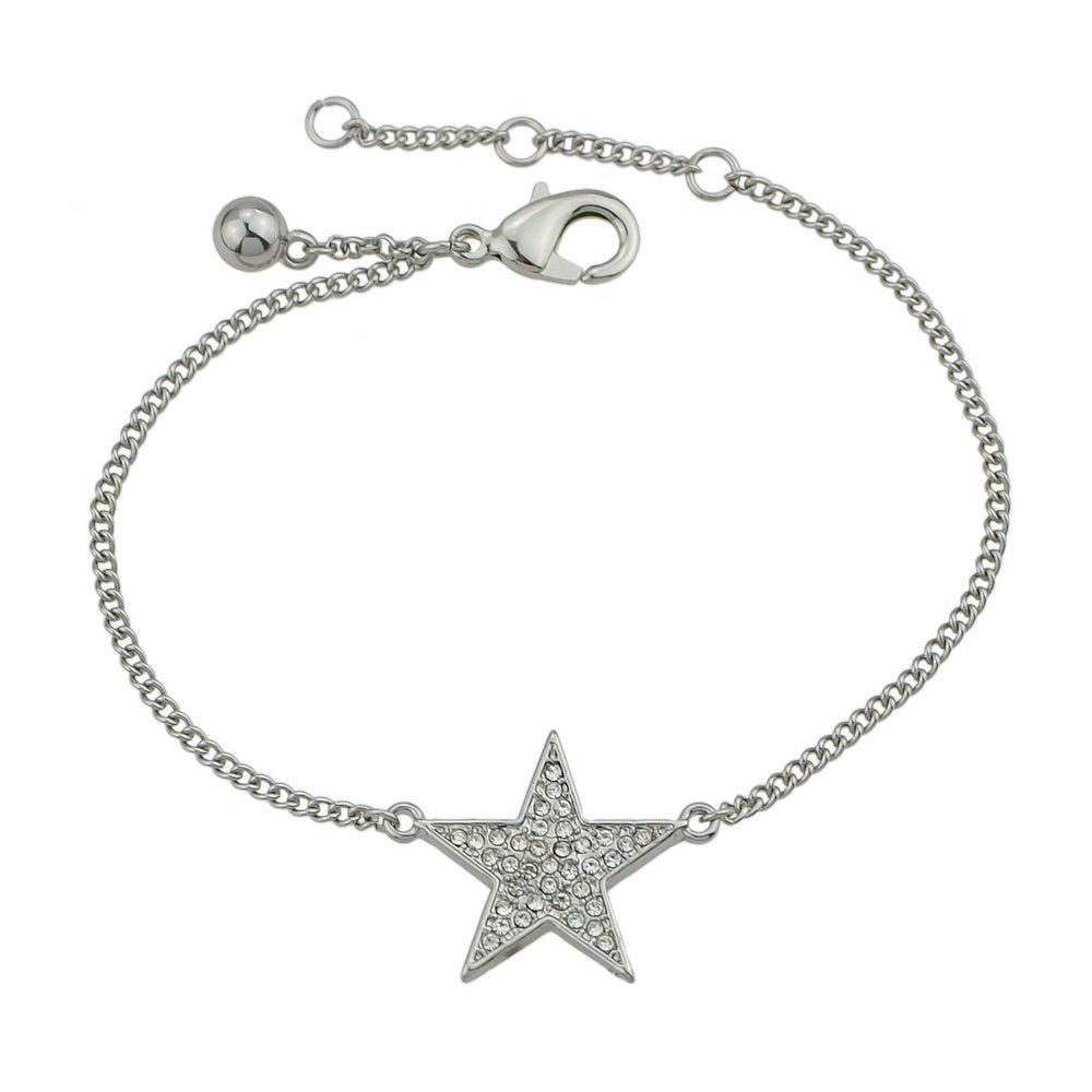 Gold Silver Color Chain Star Rhinestone Charm Bracelets silver multi layers chain with leaf shape charm bracelets